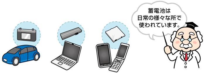 蓄電池は日常の様々な所で使われています。